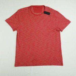 John Varvatos XL Red Cream Trim Striped Logo Tee